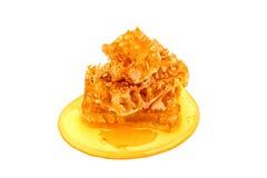 Свежий сот с медом на белой предпосылке Стоковая Фотография RF