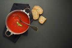 Свежий суп с плодоовощами томата Стоковое Фото