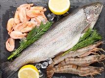 Свежий сырцовый продукт моря с специями Стоковые Изображения