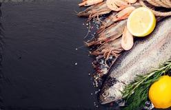 Свежий сырцовый продукт моря с специями Стоковое фото RF