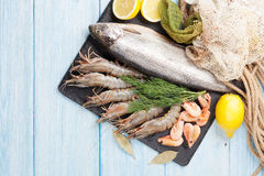 Свежий сырцовый продукт моря с специями Стоковое Изображение