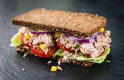 Свежий сделанный сандвич тунца с хлебом wholemeal & x28; селективное focus& x29; Стоковые Фото