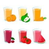 Свежий фруктовый сок фрукта и овоща в стекле вектор установленный иконами Иллюстрация штока