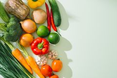 Свежий фрукт и овощ Взгляд сверху с космосом экземпляра Стоковое Фото