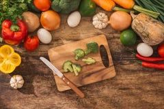 Свежий фрукт и овощ Взгляд сверху с космосом экземпляра Стоковая Фотография