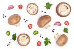 Свежий champignon величает при петрушка, перчинки и накаленные докрасна перцы chili изолированные на белой предпосылке Взгляд све Стоковые Фотографии RF
