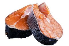 Свежий salmon стейк изолированный на белой предпосылке Salmon стейк RedFresh salmon изолированный на белой предпосылке Salmon кра Стоковое фото RF