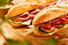 2 свежих вкусных багета с завалкой мяса Стоковое Изображение RF