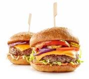 2 свежих вкусных бургера Стоковое Изображение