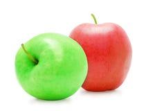 2 свежих зеленых и красных зрелых яблока Стоковые Изображения RF