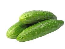 3 свежих зеленых огурца принятого крупный план изолировано Стоковая Фотография RF