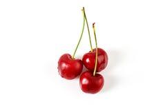 3 свежих зрелых вишни Стоковые Фотографии RF