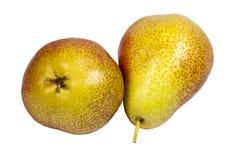 2 свежих зрелых золотых груши на белой предпосылке Стоковые Изображения