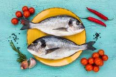 2 свежих рыбы dorado на желтых плите и овощах на голубой таблице Стоковая Фотография RF
