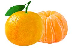 2 свежих tangerines изолированного на белой предпосылке с клиппированием Стоковые Изображения RF