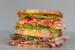 Свежо сделал гастроном ввести сэндвич в моду с салатом, несколько различных видов овощей, томатов, сыра, мяс подобных ветчине, стоковое изображение rf