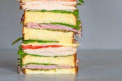 Свежо сделал гастроном ввести сэндвич в моду с салатом, несколько различных видов овощей, томатов, сыра, мяс подобных ветчине, стоковые фотографии rf