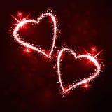 Сверкнающ 2 сердца на темной предпосылке Иллюстрация штока