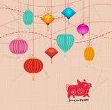 Сверкная китайские орнаменты Нового Года 2019 стоковые фотографии rf