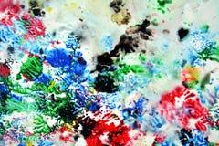 Сверкная красные зеленые черные голубые розовые цвета и оттенки Абстрактная влажная предпосылка краски Пятна картины стоковое изображение