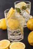 Сверкная минеральная вода с кусками льда и лимона Стоковое Изображение RF