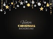 Сверкная орнаменты яркого блеска рождества Золотая граница фиесты, праздничная гирлянда с шариками смертной казни через повешение Стоковое Изображение RF