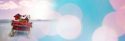 Сверкная переход саней ` s Санты и ` s северного оленя Стоковое Изображение RF