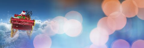Сверкная переход светов саней ` s Санты и ` s северного оленя Стоковое Фото
