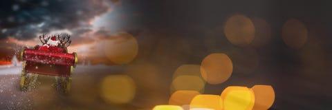 Сверкная переход светов саней ` s Санты и ` s северного оленя Стоковые Фотографии RF