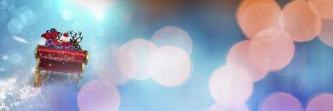 Сверкная переход светов саней ` s Санты и ` s северного оленя Стоковое фото RF