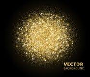 Сверкная предпосылка, золотой взрыв яркого блеска Пыль вектора на черноте Стоковая Фотография RF