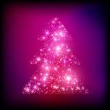 Сверкная рождественская елка сделанная вектора светов Стоковая Фотография