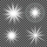 Сверкная свет на сером цвете Накалять светлый на прозрачной предпосылке иллюстрация штока