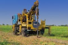 Сверля машина производит инженерство и геологические обзоры для дизайна и конструкции структур Стоковое Фото