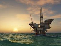 сверля море снаряжения нефтяной платформы Стоковые Фото
