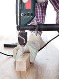 сверля работник древесины отверстия Стоковое фото RF
