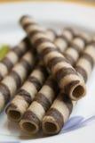 Свернутая вафля на шоколаде Стоковая Фотография