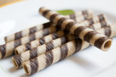 Свернутая вафля на шоколаде Стоковые Фото