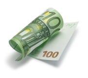 Свернуто 100 примечаниям евро Стоковое фото RF