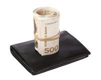 Свернутые банкноты на бумажнике Стоковая Фотография RF