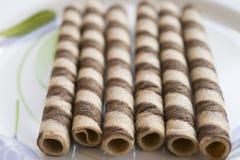 Свернутые вафли на шоколаде Стоковое Изображение