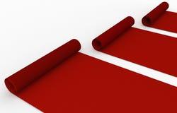 Свернутый вверх по красному ковру Стоковые Изображения