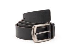 Свернутый пояс штейнового черного Faux кожаный Стоковая Фотография RF