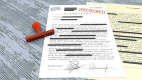Сверхсекретный документ, штемпель, рассекречиванная, конфиденциальная информация, секретный текст данные по Не-публики иллюстрация штока