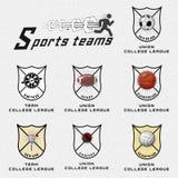 Сверчок, волейбол, футбол, баскетбол, сквош, логотипы значков рэгби и ярлыки для любых используют иллюстрация вектора