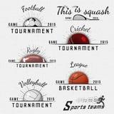 Сверчок, волейбол, футбол, баскетбол, сквош, логотипы значков рэгби и ярлыки для любых используют бесплатная иллюстрация
