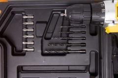 Сверло и комплект буровых наконечников стоковое изображение