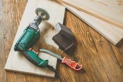 Сверля машина с древесиной Стоковые Фотографии RF