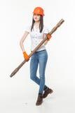 Сверля молодая женщина учреждения кучи Стоковое Изображение