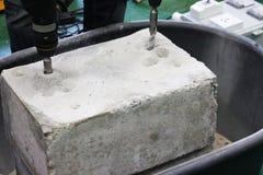 Сверля отверстия в бетоне Стоковое Изображение